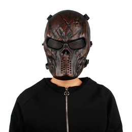 skeleton tactical mask 2019 - Tactical Military Halloween Airsoft Paintball Full Face Skull Skeleton CS Mask Breathable Windproof Scary Riding Cycling