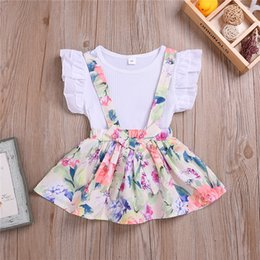 $enCountryForm.capitalKeyWord Australia - Summer girl kids clothes Set short sleeve White T-shirt top+printed strap skirt TUTU skirts 2 piece sets Kids Designer Clothes Girls JY410