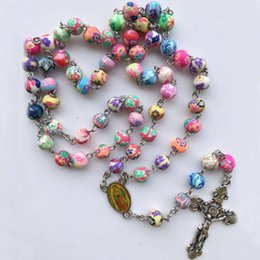 Polymer Pendants Australia - Polymer Clay Beads Catholic Rosary Cross Pendant Necklace Statement Colorful Beads Religious Maxi Necklace For Women