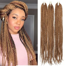 $enCountryForm.capitalKeyWord Australia - Hot Sale! 3Packs 18Inch 3S Wavy Box Braids Crochet Braid Hair Extensions 22roots Ombre Kanekalon Synthetic Goddess Box Braids Hair