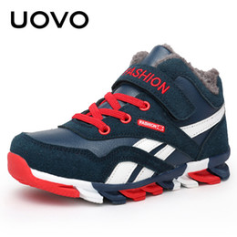 pointed shoes for boys 2019 - Uovo 2019 Boys Winter Shoes Fashion Sneakers For Boys Warm Plush Kids Boots Children Comfortable Non-slip Shoes Size 31#
