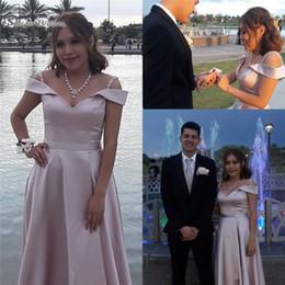 da99eabe73b30 2019 Elegant Pink Satin Bridesmaid Dresses Floor Length Vestidos De Novia  Maid Of Honor Custom Made