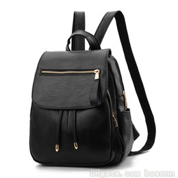 Women Backpack Purse PU Leather Simple Design Casual Daypack Fashion Retro  Double Shoulder Bag Travel Backpack 36c725308b26a