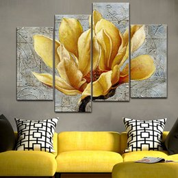 $enCountryForm.capitalKeyWord NZ - Print Painting For Living Room Home Decor 4 Piece Golden Lotus Flower Cuadros Modular Picture Poster Frame High Quality Canvas