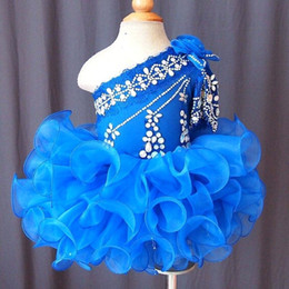 Un Hombro Royal Blue Flower Girl Dress Baby Infant Toddler Children Kids Girls Pageant Dress para la boda de cumpleaños Fiesta
