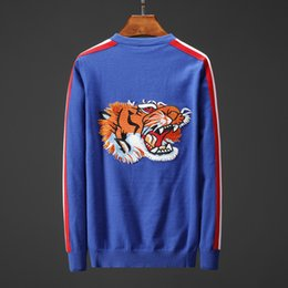 d11cdc414952 Designer Sweater for Men Brand Sweater with Tiger Wolf Embroidery Long- sleeved Top Solid Color Yellow Blue Size M-3XL
