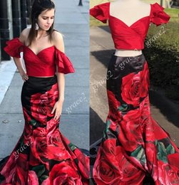 a24b3f11c445 Print Floral Roses Prom Dresses 2019 Two Pieces Red and Black Mermaid  Pageant Gowns Off the Shoulder Sweep Train Real Pictures Custom Made