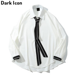 $enCountryForm.capitalKeyWord Australia - Dark Icon Color Contrast Sleeve Cuff Loose Shirt with Tie Oversized Street Men's Shirt Long Sleeve Drop Shoulder Shirts Man