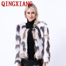 $enCountryForm.capitalKeyWord Australia - S-4XL 2019 Women White Hang Dying Faux Fur Long Sleeves Colorful Short Coat Plus Size Cape Winter Thick Warm Cardigan