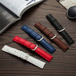 $enCountryForm.capitalKeyWord Australia - genuine Leather Watch Bands Strap Smooth Stainless Steel pin buckle 12mm 13mm 15mm 18mm 19mm 20m 21mm 22mm 23mm Watchband