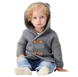 Computer kids online shopping - INS baby kids clothing sweater hooded Coat with dog design cardigan sweater apricot solid color buttons boy girl spring fall sweater