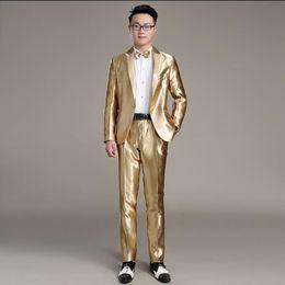 $enCountryForm.capitalKeyWord Australia - Men's dress casual gold suit suit Korean youth small host costume dress slim male