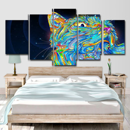 painting colours NZ - Modern Home Wall Decor Canvas Picture Art HD Print 5 Panel Colour Abstract Animal Cat Painting On Canvas For Living Room