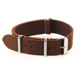 56f0a209c85 High Quality Vintage Crazy Horse Genuine Leather Nato Watchband Brown Watch  Straps 18mm 20mm 22mm small hole