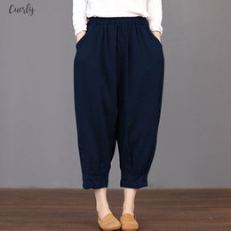 baggy summer trousers UK - Summer 2020 Trousers Women Pockets Solid Loose Elastic Waist Harem Pants Cargo Baggy Cotton Linen Pantalon Plus Size