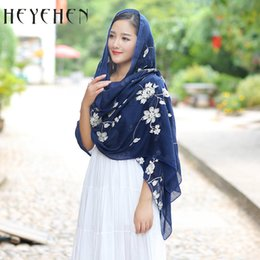 grey cotton lace scarves NZ - Floral Embroidery New Design Cotton Polyester Women Scarves Travel Long Shawl For Hijab Flower Printed Ladies Bandana HY02