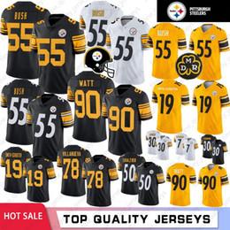 XXXl football jerseys online shopping - 55 Devin Bush Jerseys Juju Smith Schuster Pittsburgh T J Watt Steelers James Conner Alejandro Villanueva Roethlisberger