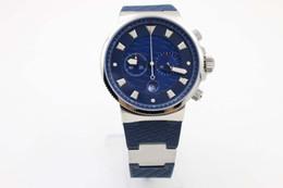 Marine Luxury Watch Australia - 2019 Blue Theme Quartz Simple Luxury chronograph Wristwatch Popular Platinum Skeleton Three Zone Marine Chronometer Male Watch