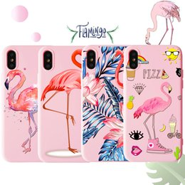 Discount apple 6plus - Flamingo Pink Phone Cases Soft TPU Painting Cute Back Cover Cartoon Protector for iPhone X XR XS Max 6 6s 6plus 7 7plus