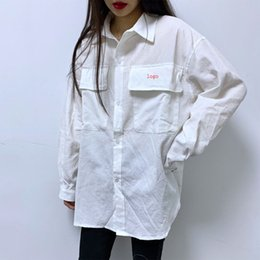 womens loose linen shirt Canada - Mens Womens Designer Shirts Fashion Loose Brand Me Women Shirts New Arrival Casual Solid White Men Women Unisex Shirts