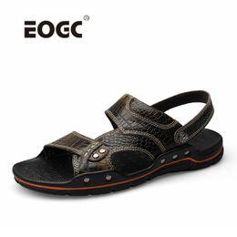$enCountryForm.capitalKeyWord Australia - Plus Size Handmade Leather Men Sandals Crocodile Natural Cow Leather Casual Shoes Mature Beach Men's Summer Slippers