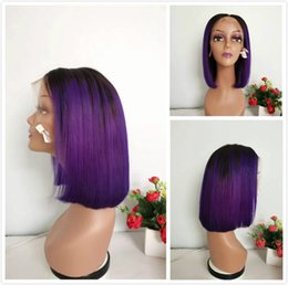 purple brazilian hair 2019 - Fashion Purple Ombre Human Hair Wig Brazilian Straight Short Pixie Lace Front Wigs For Black Women Colored 1B Purple Glu