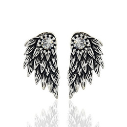 $enCountryForm.capitalKeyWord UK - 20pcsGothic Silver Color Angel Wings Alloy Stud Cool Black Feather Earrings For Women Men Fashion Jewelry C19041101