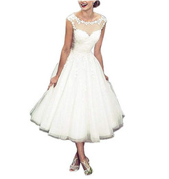 Cheap Line Bridal Wedding Dress UK - 2019 Elegant Cap Sleeves Wedding Dresses Country Style Scoop Neck Lace Appliques Tulle A Line Tea Length Bridal Gowns Custom Made Cheap