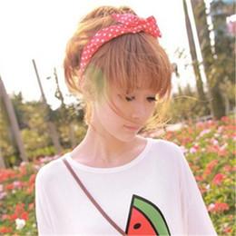 $enCountryForm.capitalKeyWord NZ - 1Pcs Cute Korean Dots Bunny Rabbit Ear Ribbon Headwear Hairband Metal Wire Scarf Headband Hair Band Accessories 20 Colors