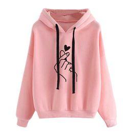 Yellow hoodies for girls online shopping - Harajuku Women s Sweatshirt and Hoody Ladies Oversize K Pop Yellow Pink Love Heart Finger Hood Casual Hoodies for Women Girls