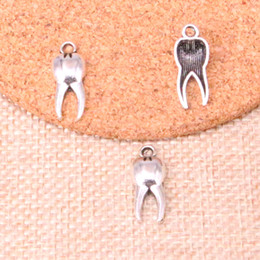 zombie pendants Australia - 150pcs Antique Silver Plated zombie tooth teeth molar Charms Pendants fit Making Bracelet Necklace Jewelry Findings Jewelry Diy Craft 20*8mm