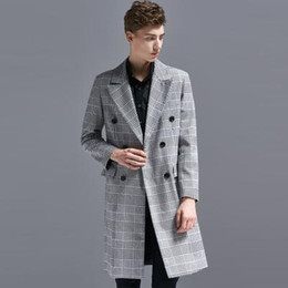 High Quality Pea Jacket Australia - Double Breasted Plaid Striped Jacket Men Nice Spring England Causal Business Pea Coat Male High Quality Overcoat