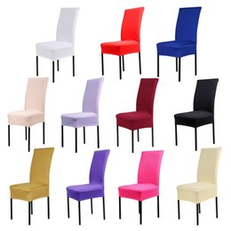 white wedding chairs wholesale Canada - Cheap 6pcs lot Red White Black Blue 14 Solid Colors Elastic Stretch Spandex Chair Cover For Hotel Wedding Party Decoration
