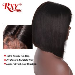16inch Human Hair Wig Australia - Straight Human Hair Bob Wig Peruvian Straight Lace Front Human Hair Wig For Black Women 8-16inch Short Lace Frontal Wigs
