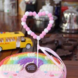 $enCountryForm.capitalKeyWord Australia - New Wedding Cake Topper Plush Heart Moon Stars Happy Birthday Cupcake Topper For Birthday Party Cake Decorations Baby Shower