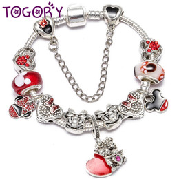 Vente en gros TOGORY Nouveau Bracelet à breloques De Mode Avec Le Cristal Mignon Fine Bracelet Pour Les Femmes Amoureux Pulseras Mujer Dropshipping