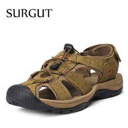 $enCountryForm.capitalKeyWord Australia - SURGUT Brand Genuine Leather Shoes Summer New Large Size Men's Sandals Men Sandals Fashion And Slippers Big Size 38-47 #45845