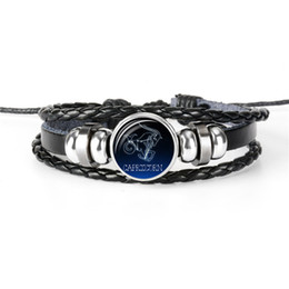 $enCountryForm.capitalKeyWord NZ - Hot Sell 100% Hand-woven 12 Constellations Zodiac Capricorn Time Gem Glass Dome Jewelry Wrap Leather Braided Rope Beaded bracelets men women