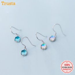 blue colour earrings 2019 - Trusta 2019 100% 925 Solid Real Sterling Silver Blue Round Synthesis Coloured Glaze Earrings For Teen Girl Women Jewelry