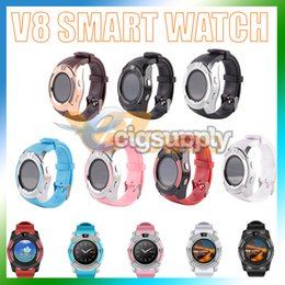 $enCountryForm.capitalKeyWord NZ - V8 Smart Watch Bluetooth Watches with 0.3M Camera MTK6261D DZ09 GT08 Smartwatch for Apple Android Phone Wrist Watches with Retail Package