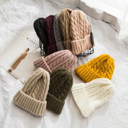 wholesale korean beanies for men Australia - 2020 Winter Hats For Women Solid Knitted Warm Soft Beanie Wool Casual Cap Korean Slough Beanies All Match Flower Hat