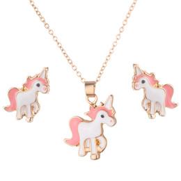 $enCountryForm.capitalKeyWord Australia - Necklace Earrings Cartoon Horse Unicorn Necklace Earring Jewelry Pink Girls Gift Jewelry