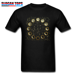 moon printed tee Australia - Top Shirts For Man Funky T-shirt Guys Tees The Moon Phases Geek Chic Clothes Mens Black Tshirt Stars Sky Print Streetwear Cotton
