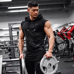 $enCountryForm.capitalKeyWord Australia - Bodybuilding Stringer Tank Top with hooded Mens Gyms Clothing Fitness Mens Sleeveless Vests Cotton Singlets Muscle Tankops Y19042204