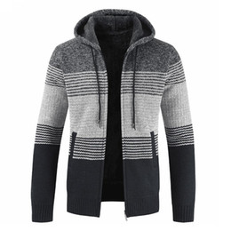 cardigan zipper thick sweaters men UK - 2018 Autumn New Men Sweater Coat Hooded Cardigan Patchwork Outwear Velvet Thickening Casual Male Clothes Hot Sale SH190706