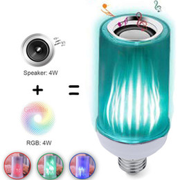 Color flame bulb new foreign trade cross-border e-commerce hot new bluetooth color remote control flame sound lamp on Sale