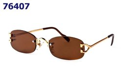 Discount spectacles gold frame - Luxury Sunglasses Gold Metal Frame Fo Men Women Rimless Glasses Fashion Designer Spectacle Sun glasses With Box