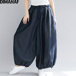 $enCountryForm.capitalKeyWord NZ - Dimanaf Plus Size Women Wide Leg Long Pants Autumn Jeans Pants Casual Vintage 2018 Oversized Elastic Waist Large Pantalones 5xl Y19071701