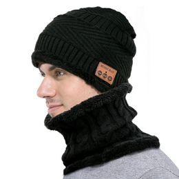 Wholesale Bluetooth Beanie Scarf Set Music Winter Warm Skullies Beanie Windproof Knitting Caps Neckerchief 2pcs set LJJO7393