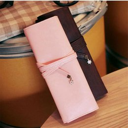 drawstring cosmetic bag Australia - Fashion Leather Pencil Bag Cosmetics Pouch Pocket Brushes Holder Stationery Organizer Pen Box School Supplies Drawstring Bags